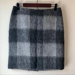 Talbots Black/Grey Wool Buffalo Plaid Pencil Skirt